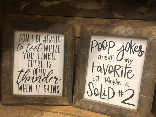 Framed Bathroom Humor Wall Sign