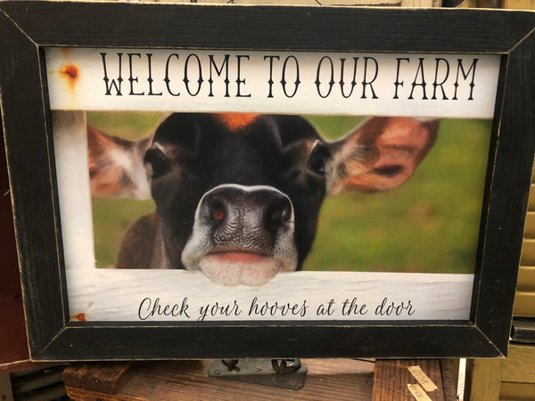 Welcome To Our Farm Framed Wall Sign