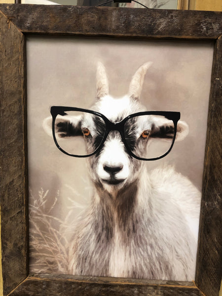 Invoice sent. Sold to April J-Goat with glasses lath frame wall sign LIVE Sale 3/20/2020