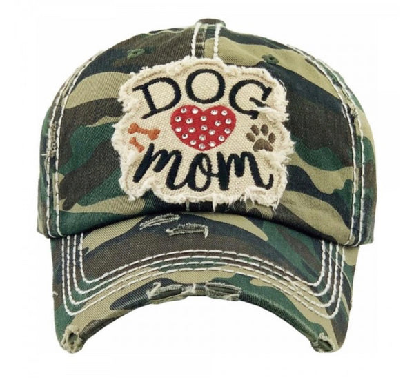 Rhinestone Dog Mom Distressed Cap