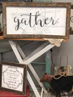 Gather Here With Grateful Hearts Lath Wall Sign
