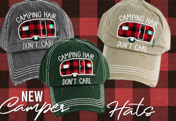 "Distressed Vintage ""Camping Hair Don't Care"" Cap"