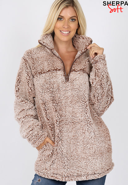 Ladies Plus Sherpa Pullover