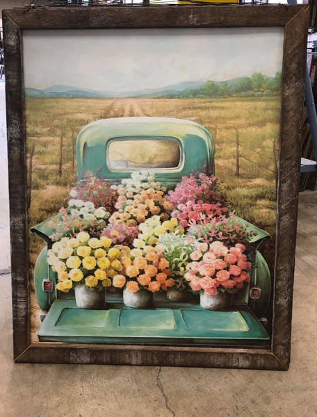 Lath Frame Vintage Truck Wall Sign