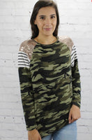 Camouflage and Sequins Long Sleeve Top