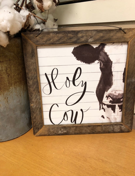 Holy Cow Lath Framed Wall Hanging