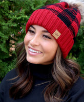 Buffalo Plaid Fleece Lined Pom Pom Beanie