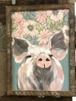 Millie the Pig lath frame wall sign