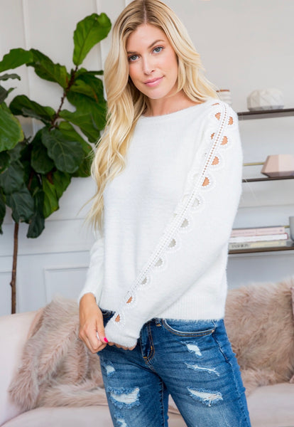 Ladies Crochet Lace Long Sleeve Sweater