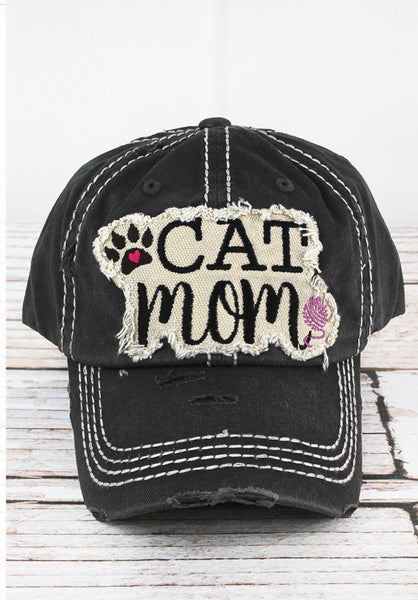 Cat Mom Distressed Cap