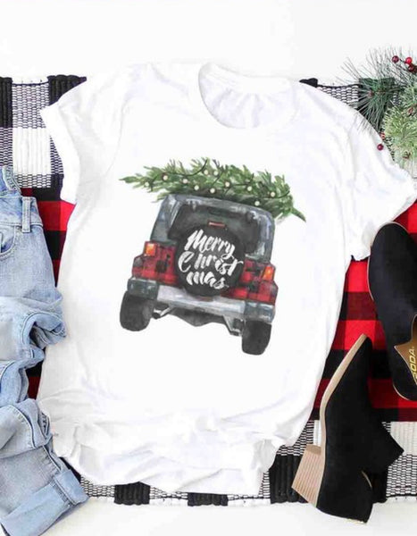 Merry Christmas Plaid Jeep Graphic Tshirt