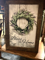 Bless This Home Lavender Wreath wall sign