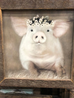 Pretty Little Piggy Lath Frame Decor