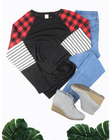 Buffalo Plaid Striped Long Sleeve Top