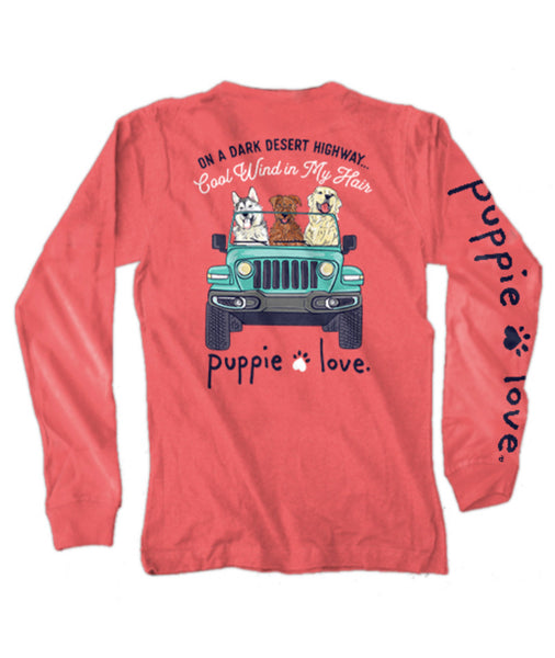 Puppie Love - Dark Desert Highway Long sleeve Tshirt