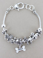 Silvertone Dog Mom Sliding Bead Bracelet