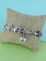 Silvertone Cat Mom Sliding Bead Bracelet