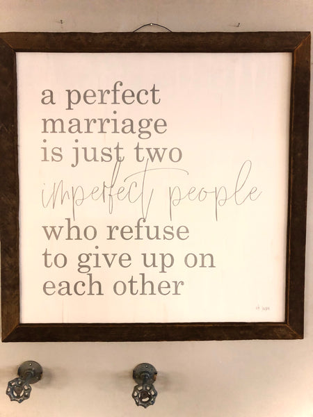 A Perfect Marriage Wall Sign