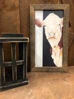 Lath Framed Cow Picture