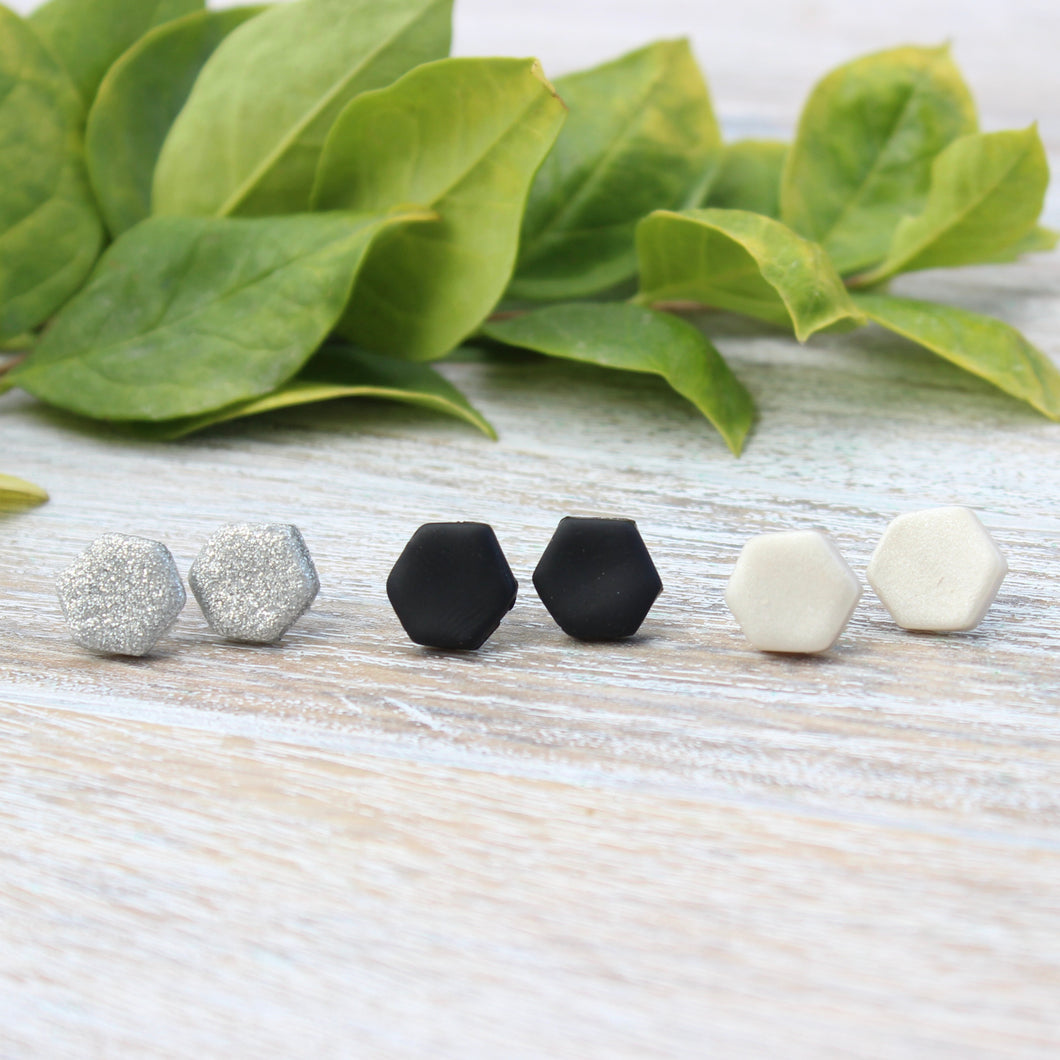Silver, Black, and Pearl Clay Stud Earring Set