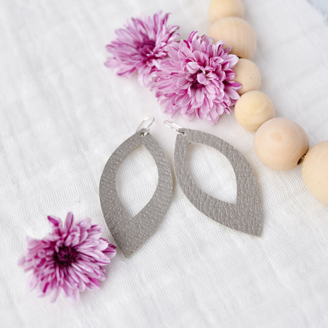 Gray Cutout Petal Earrings
