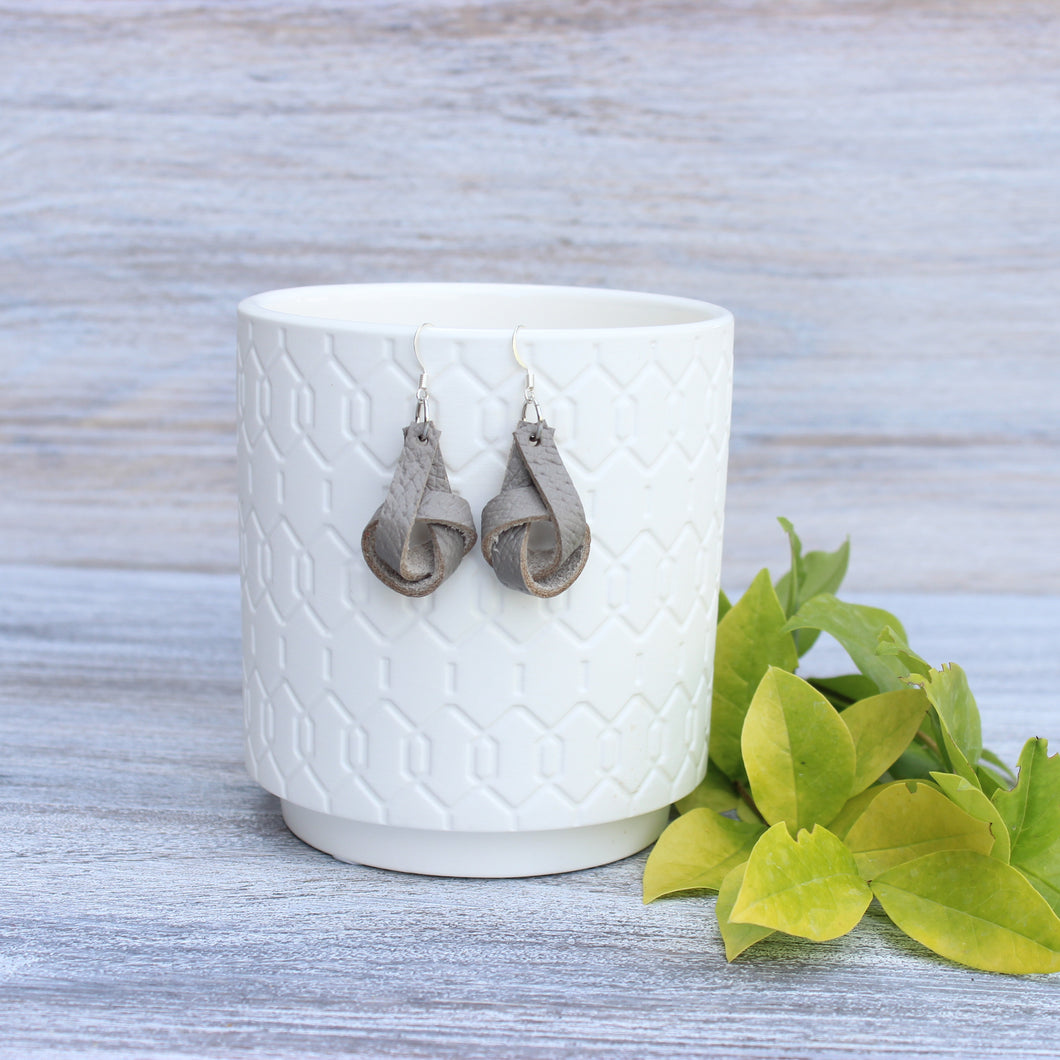 Gray Forget Me Knot Earrings