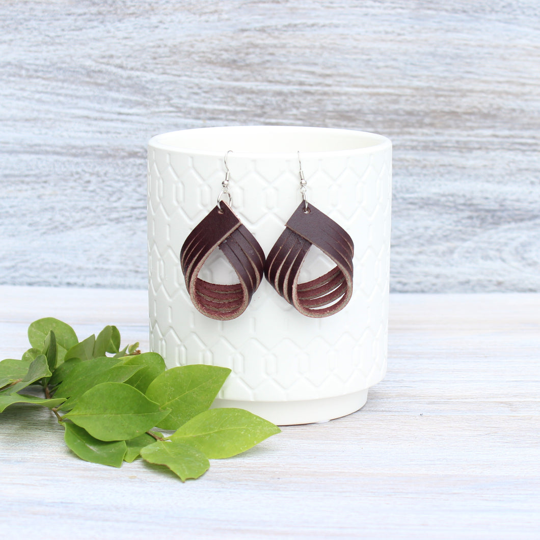 Dark Brown Palm Earrings