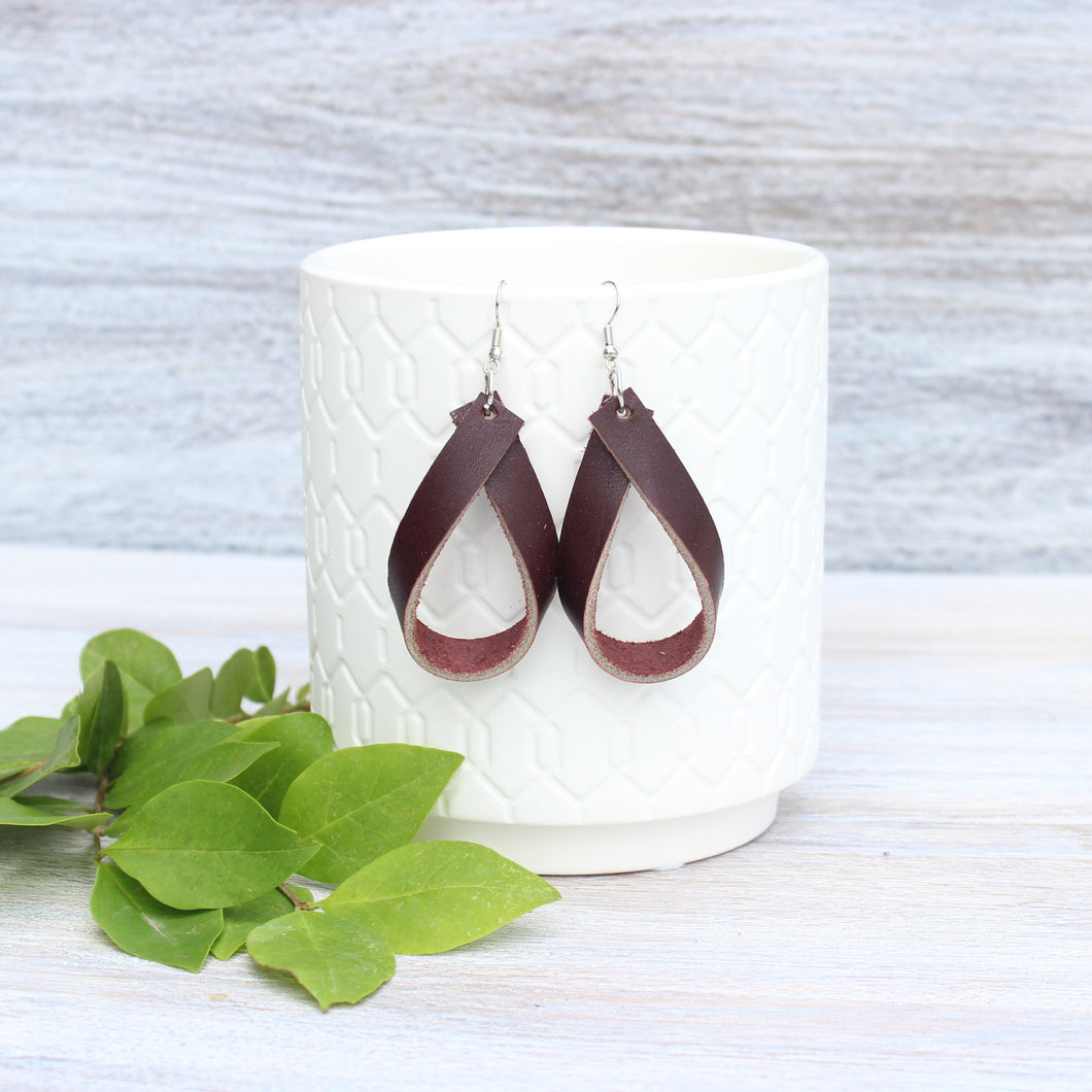 Dark Brown Leather Teardrop Earrings