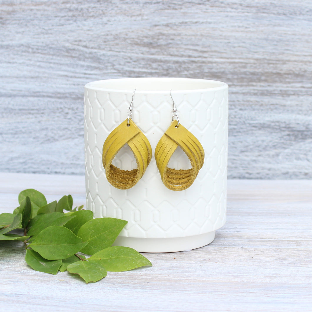 Mustard Four Strand Earrings
