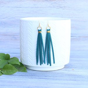 Peacock Blue Tassel Earrings