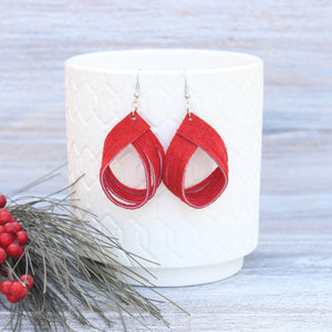 Red Suede Leather Palm Earrings