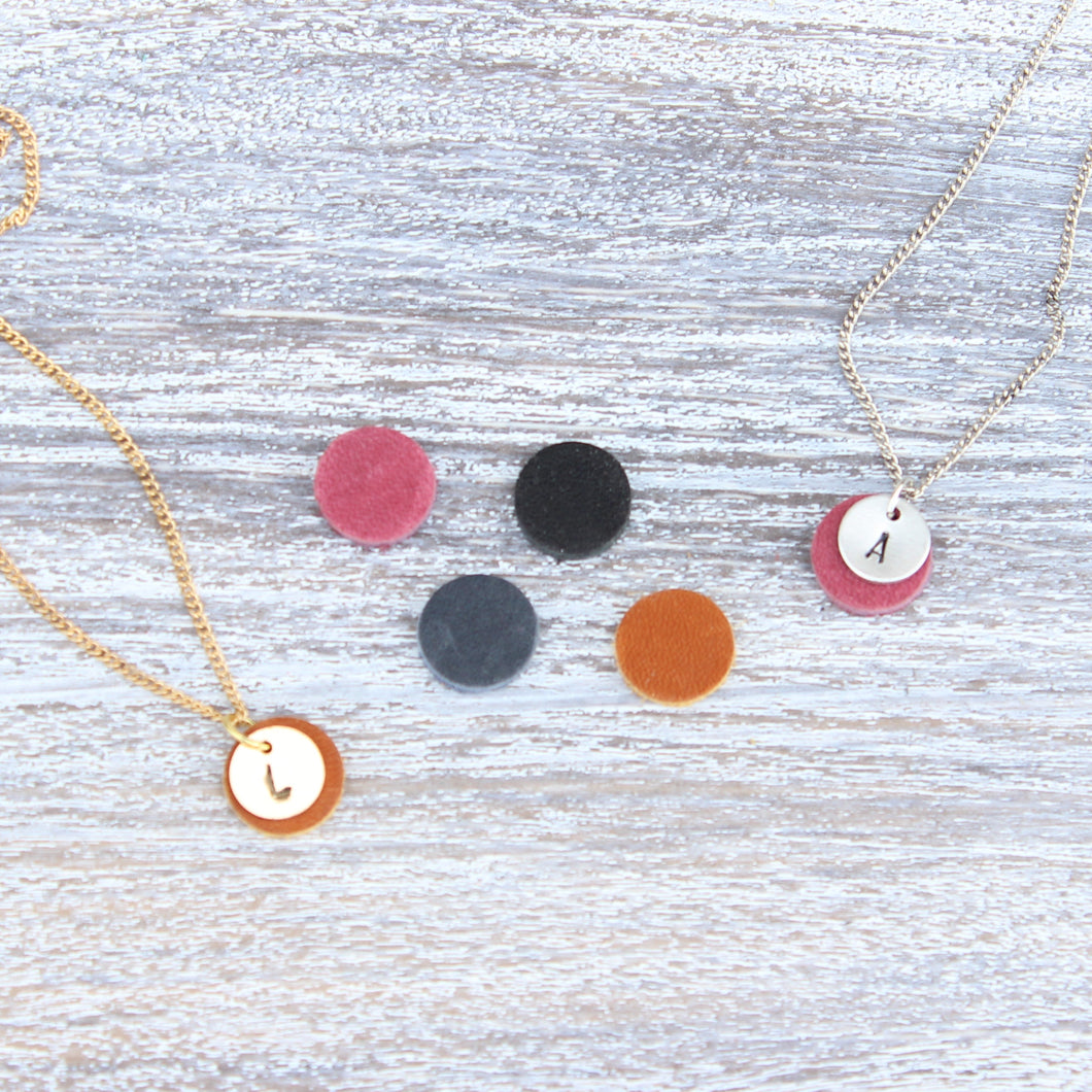 Initial Leather Charm Necklace