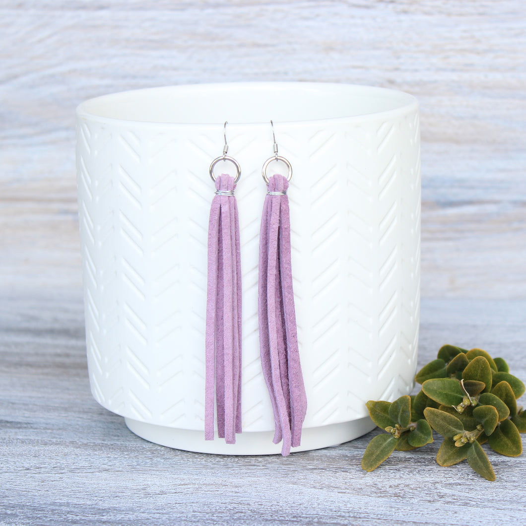 Lavender Leather Tassel Earrings