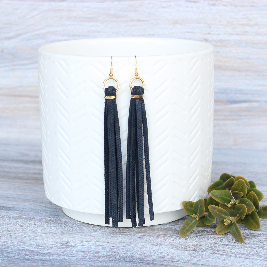 Navy Leather Tassel Earrings