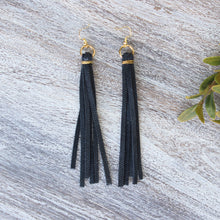 Load image into Gallery viewer, Navy Leather Tassel Earrings