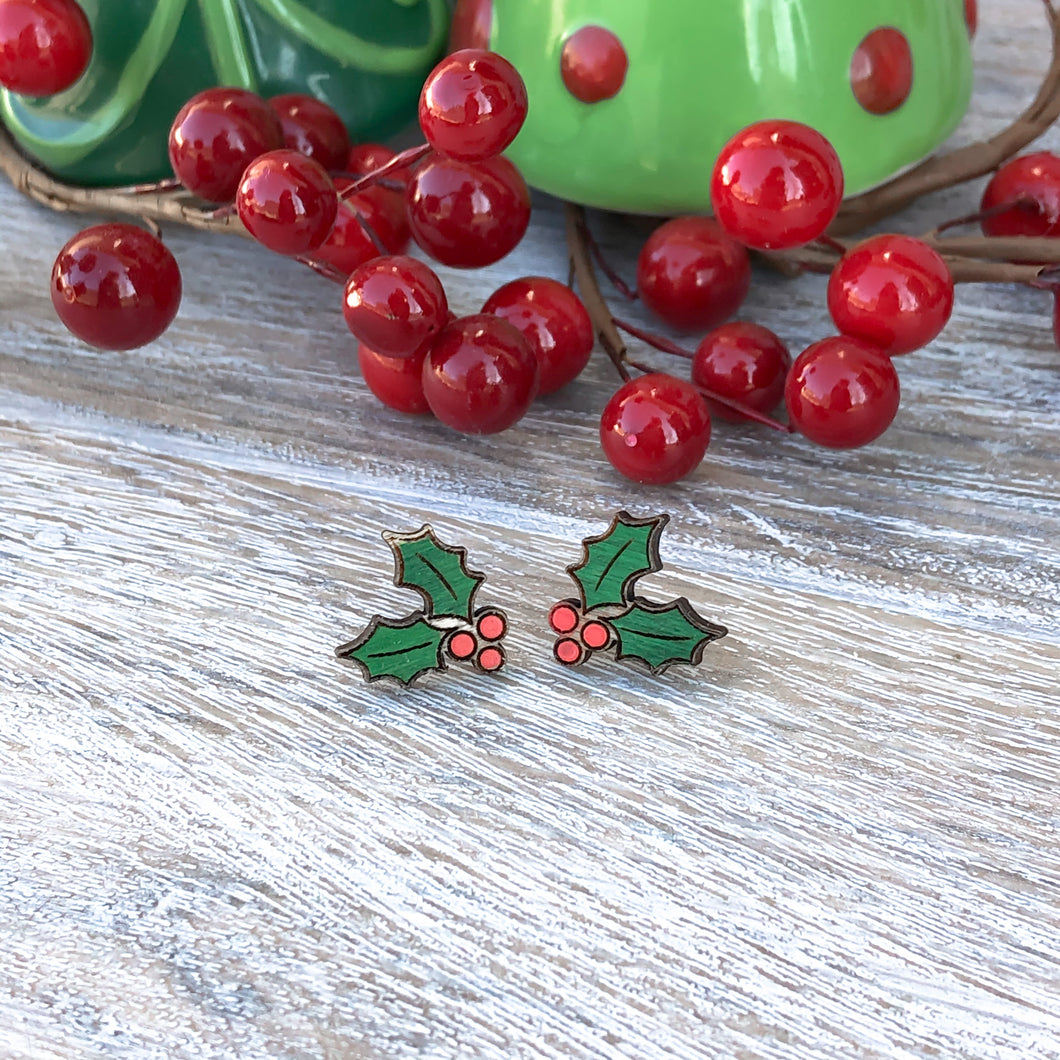 Holly Christmas Stud Earrings