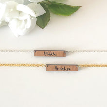 Load image into Gallery viewer, Personalized Wood Bar Necklace