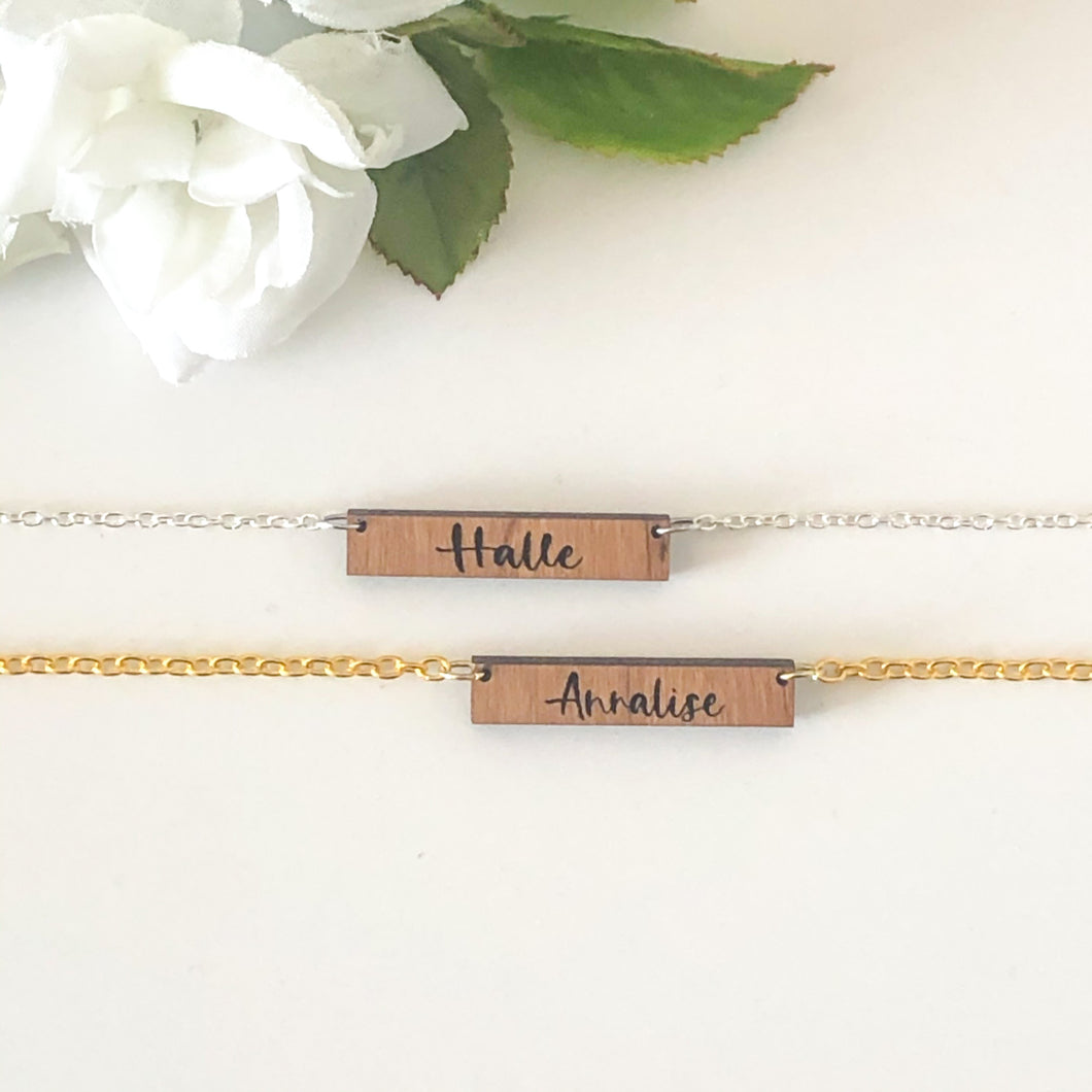 Personalized Wood Bar Necklace
