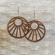 Load image into Gallery viewer, Sun Ray Wood Earrings