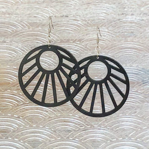 Sun Ray Wood Earrings