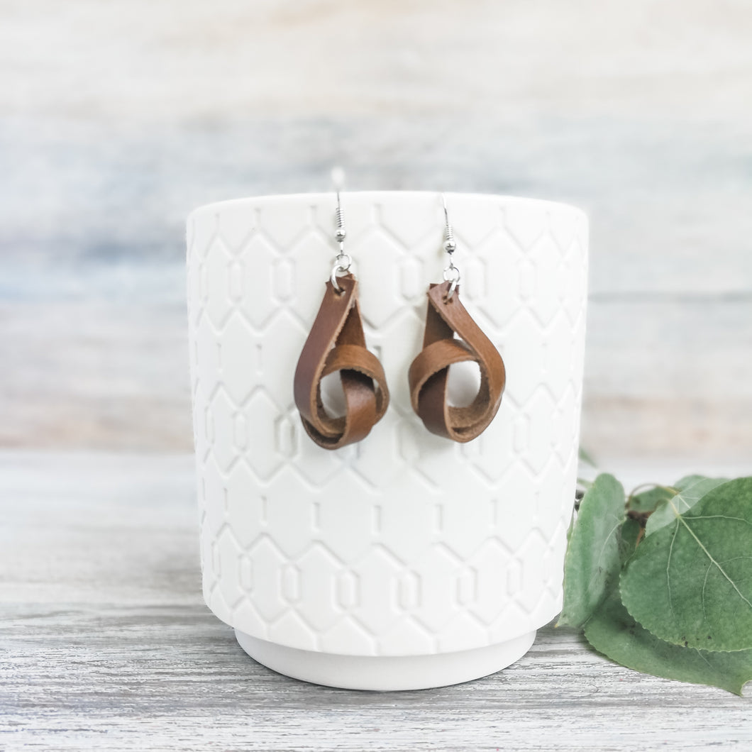 Weathered Brown Forget Me Knot Earrings