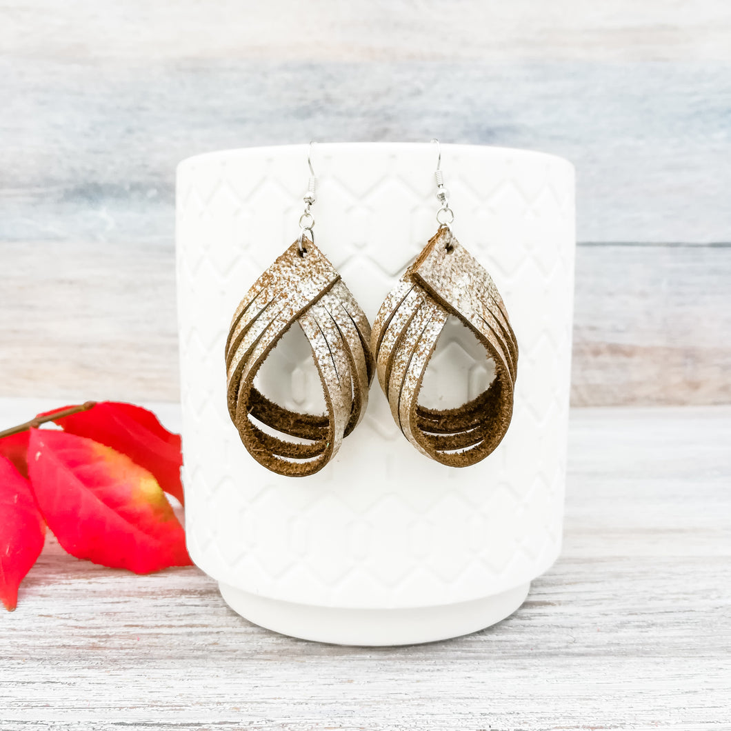 Metallic Brown Sugar Palm Earrings