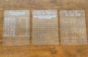 Dry Erase Game Boards (Set of 3 games)