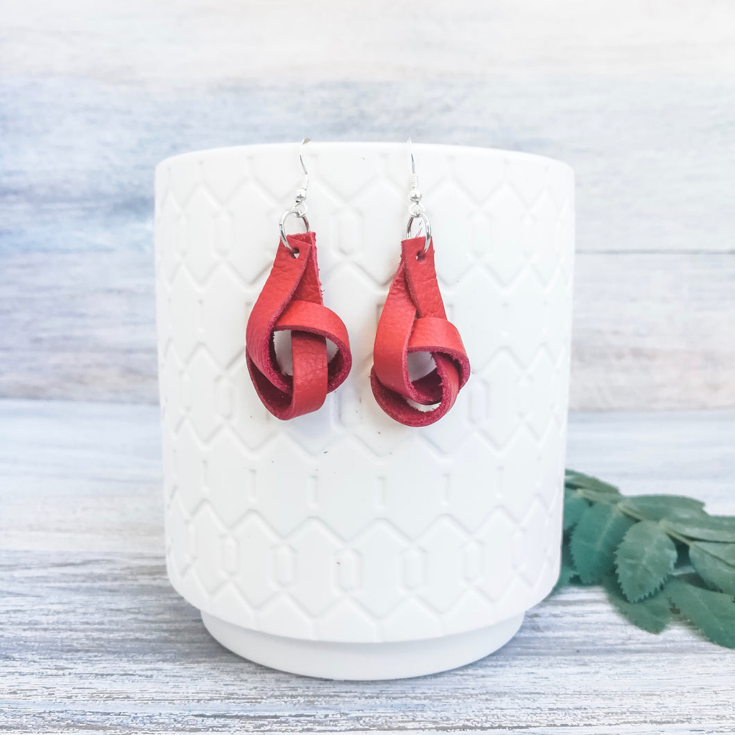 Red Forget Me Knot Earrings