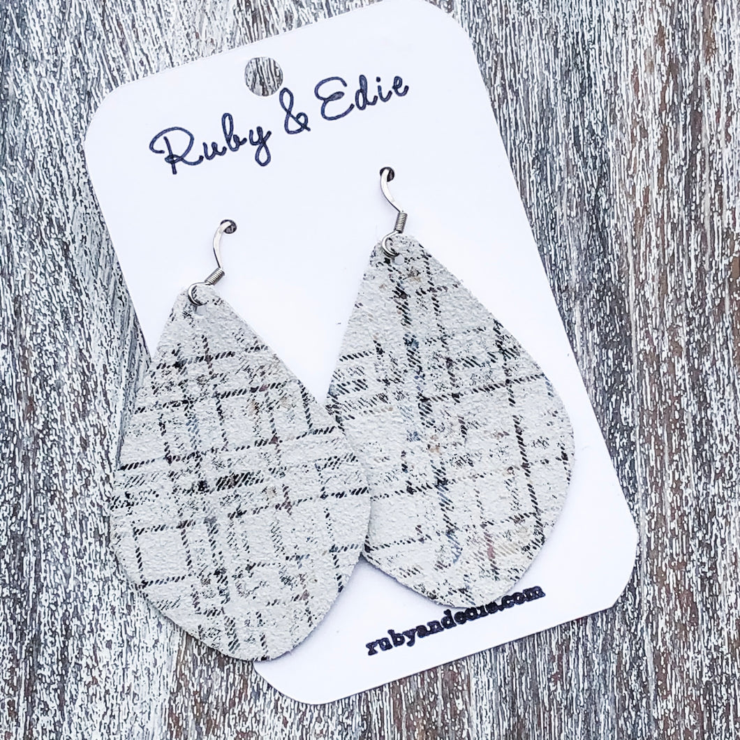 Off White Plaid Aspen Earrings