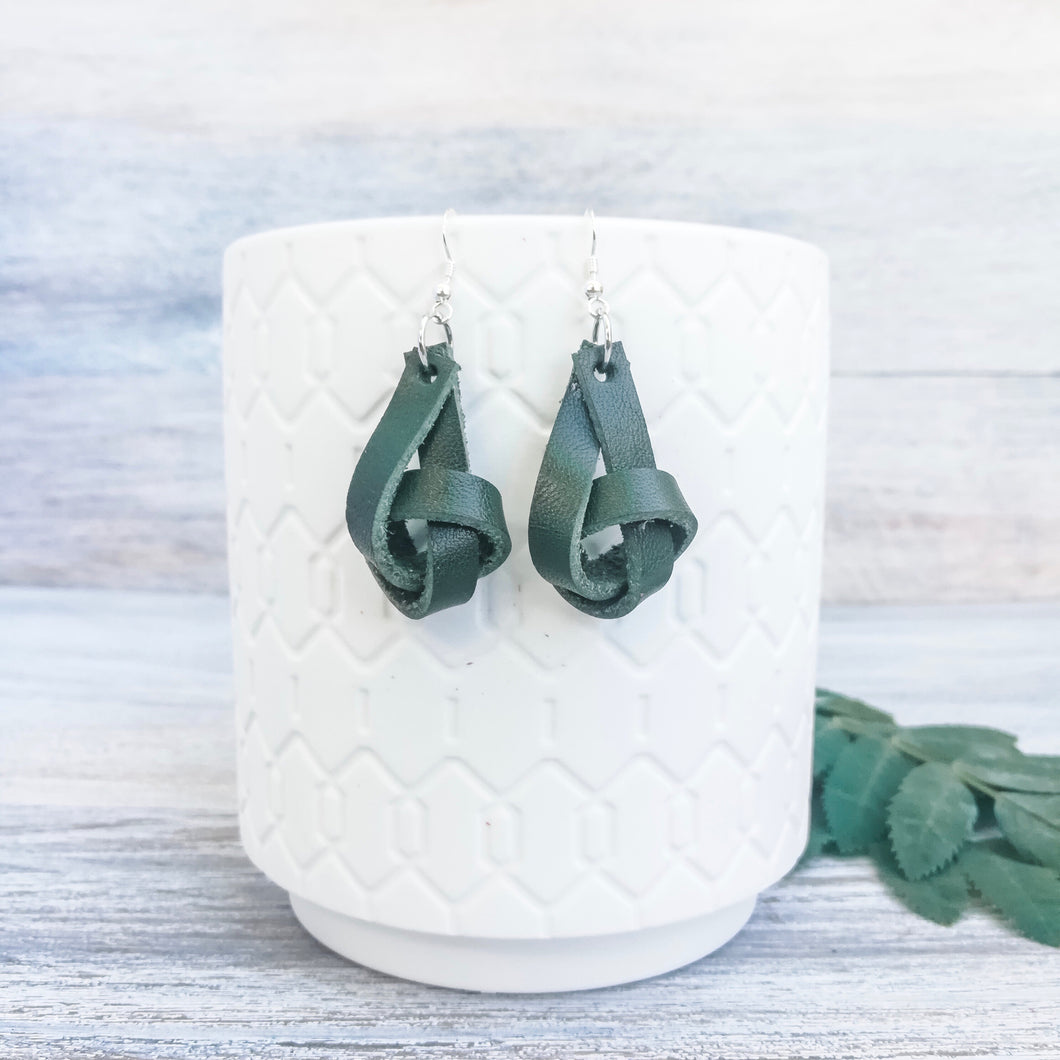 Forest Green Forget Me Knot Earrings
