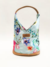 Load image into Gallery viewer, Light Blue Floral Hobo Bag