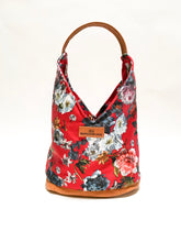 Load image into Gallery viewer, Red Floral Hobo Bag