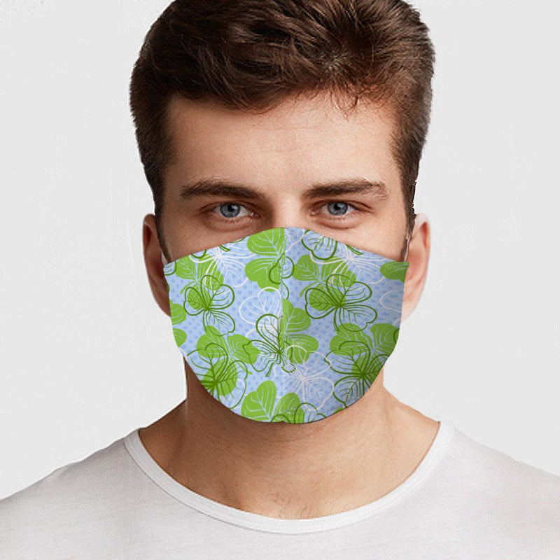 Green Clovers Face Cover