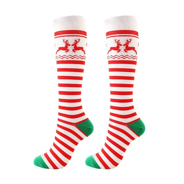 Christmas Compression Socks New Pattern Medical Pressure Nursing Stockings Sports Running Festival Gift Nylon Socks